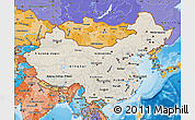 Shaded Relief Map of China, political shades outside, shaded relief sea