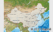 Shaded Relief Map of China, satellite outside, shaded relief sea