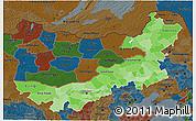 Political Shades 3D Map of Nei Mongol Zizhiqu, darken