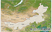 Shaded Relief 3D Map of Nei Mongol Zizhiqu, satellite outside