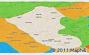 Shaded Relief Panoramic Map of Abag Qi, political outside