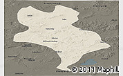 Shaded Relief Panoramic Map of Abagnar Qi, darken