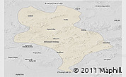 Shaded Relief Panoramic Map of Abagnar Qi, desaturated
