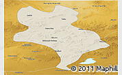 Shaded Relief Panoramic Map of Abagnar Qi, physical outside