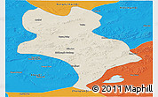 Shaded Relief Panoramic Map of Abagnar Qi, political outside