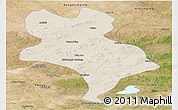 Shaded Relief Panoramic Map of Abagnar Qi, satellite outside