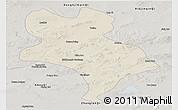 Shaded Relief Panoramic Map of Abagnar Qi, semi-desaturated