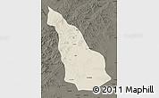 Shaded Relief Map of Ar Horqin Qi, darken