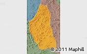Political Map of Bairin Zuoqi, semi-desaturated