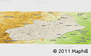 Shaded Relief Panoramic Map of Butha Qi, physical outside