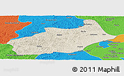 Shaded Relief Panoramic Map of Butha Qi, political outside