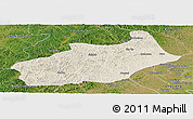 Shaded Relief Panoramic Map of Butha Qi, satellite outside