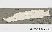 Shaded Relief Panoramic Map of Dong Ujimqin Qi, darken