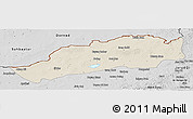 Shaded Relief Panoramic Map of Dong Ujimqin Qi, desaturated