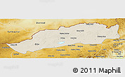 Shaded Relief Panoramic Map of Dong Ujimqin Qi, physical outside