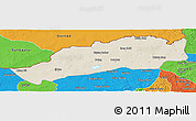 Shaded Relief Panoramic Map of Dong Ujimqin Qi, political outside