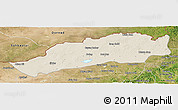 Shaded Relief Panoramic Map of Dong Ujimqin Qi, satellite outside