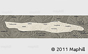 Shaded Relief Panoramic Map of Dongsheng, darken