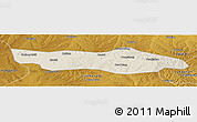 Shaded Relief Panoramic Map of Dongsheng, physical outside
