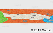 Shaded Relief Panoramic Map of Dongsheng, political outside