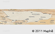 Shaded Relief Panoramic Map of Ejin Qi, satellite outside