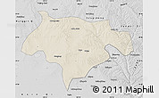 Shaded Relief Map of Ejinhoro Qi, desaturated
