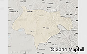 Shaded Relief Map of Ejinhoro Qi, semi-desaturated