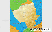 Physical Map of Ewenkizu Zizhiqi, political outside