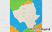 Shaded Relief Map of Ewenkizu Zizhiqi, political outside