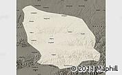 Shaded Relief Map of Guyang, darken