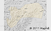 Shaded Relief Map of Harqin Qi, desaturated