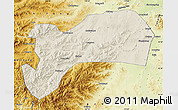 Shaded Relief Map of Harqin Qi, physical outside