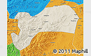 Shaded Relief Map of Harqin Qi, political outside