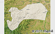 Shaded Relief Map of Harqin Qi, satellite outside