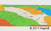 Shaded Relief Panoramic Map of Horqin Youyizhongqi, political outside
