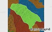 Political Map of Jarud Qi, darken