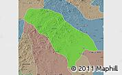 Political Map of Jarud Qi, semi-desaturated