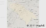 Shaded Relief Map of Jarud Qi, semi-desaturated
