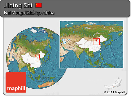 Free Satellite Location Map Of Jining Shi Highlighted Country - Jining map