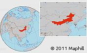 Gray Location Map of Nei Mongol Zizhiqu
