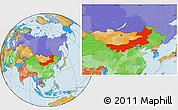 Political Location Map of Nei Mongol Zizhiqu