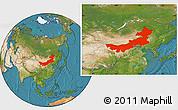 Satellite Location Map of Nei Mongol Zizhiqu