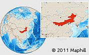 Shaded Relief Location Map of Nei Mongol Zizhiqu