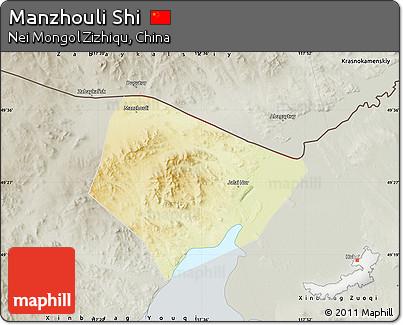 Free Physical Map Of Manzhouli Shi Semidesaturated - Manzhouli map