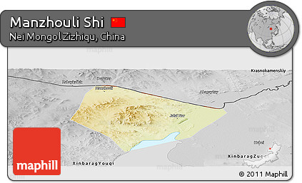 Free Physical Panoramic Map Of Manzhouli Shi Desaturated - Manzhouli map