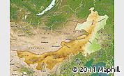 Physical Map of Nei Mongol Zizhiqu, satellite outside