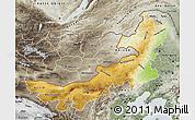 Physical Map of Nei Mongol Zizhiqu, semi-desaturated
