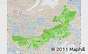 Political Shades Map of Nei Mongol Zizhiqu, lighten, semi-desaturated