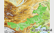 Political Shades Map of Nei Mongol Zizhiqu, physical outside
