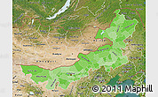 Political Shades Map of Nei Mongol Zizhiqu, satellite outside